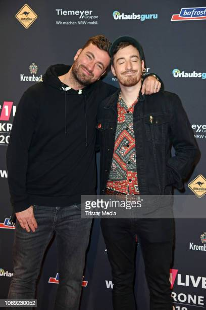Marteria and Casper arrive at the 1Live Krone radio award red carpet at Jahrhunderthalle on December 6 2018 in Bochum Germany