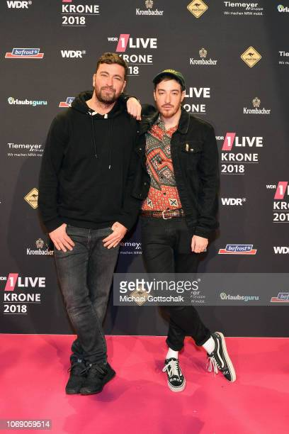 Marteria and Casper attend the 1Live Krone radio award at Jahrhunderthalle on December 6 2018 in Bochum Germany