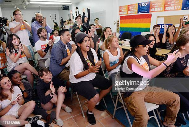 Martha Acevedo reacts with other to the Supreme Court ruling at a watch party at Equality California a nonprofit civil rights organization that...