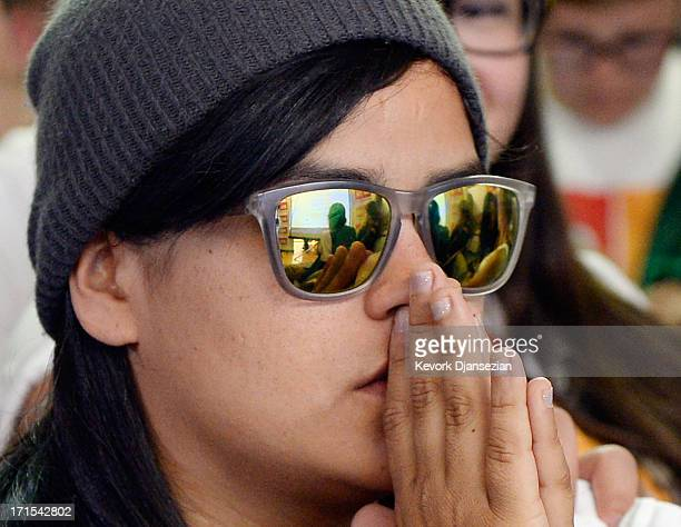 Martha Acevedo waits for the Supreme Court ruling at a watch party at Equality California a nonprofit civil rights organization that advocates for...