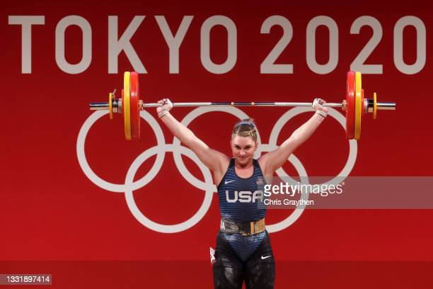 Martha Ann Rogers of Team United States competes during the Weightlifting - Women's 87kg Group A on day ten of the Tokyo 2020 Olympic Games at Tokyo...