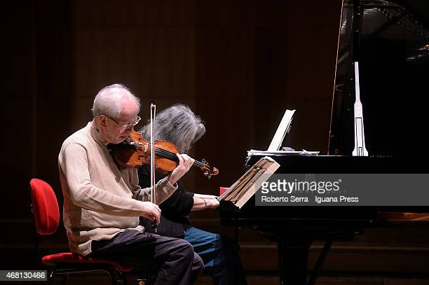 Martha Argerich on piano and Gidon Kremer on violin take their repetition before the concert for the Bologna Festival at Auditorium Manzoni on March...