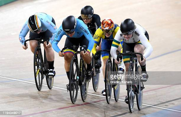 Martha Bayona Pineda of Columbia and Stephanie Morton of Australia compete in the final of the Women's Keirin event during the 2019 Brisbane Track...