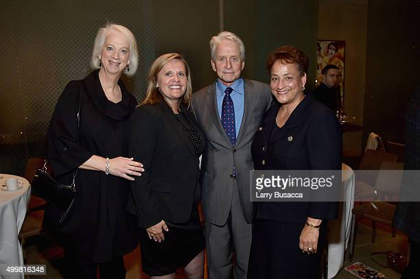 Martha Boudreau Lisa Marsh Ryerson Michael Douglas and Jo Ann Jenkins attend the AARP Movies for Grownups Gala Countdown Lunch with actor/producer...
