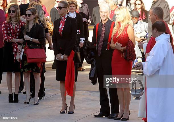Martha De Laurentiis wife Italianborn film producer Dino De Laurentiis during the funeral for the Italianborn film producer at the Cathedral of Our...