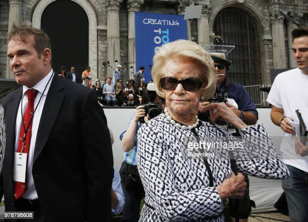 Martha Firestone Ford majority owner of the Detroit Lions attends a Ford Motor Co event at the Michigan Central Station in the Corktown neighborhood...