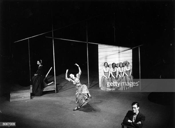 Martha Graham dancing in her ballet 'Appalachian Spring' based on her interest in Native American life