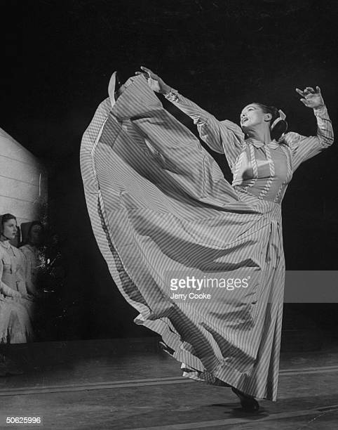 Martha Graham high kicking during the premiere of Aaron Copland's 'Appalachian Spring' 1945