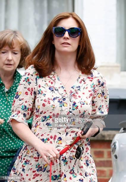 Martha Hancock, wife of British Health Secretary Matt Hancock, arrives home on June 26, 2021 in London, England. Her husband, Secretary of State for...
