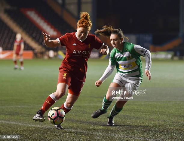Martha Harris of Liverpool Ladies competes with Leah Burridge of Yeovil Town Ladies during the FA Women's Super League match between Liverpool Ladies...
