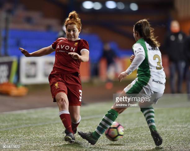 Martha Harris of Liverpool Ladies competes with Leah Burridge of Yeovil Town Ladiesbg during the FA Women's Super League match between Liverpool...
