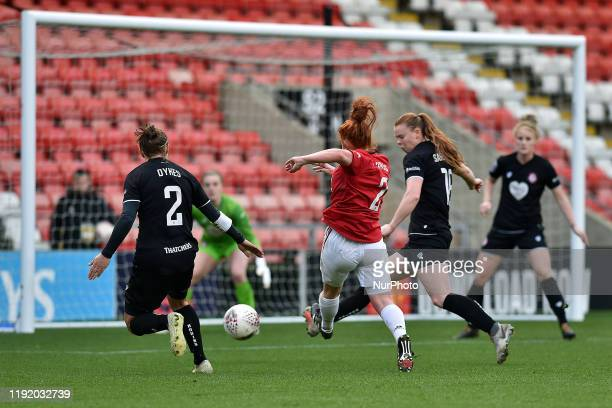 Martha Harris of Manchester United Women and Loren Dykes of Bristol City Women during the Barclays FA Women's Super League match between Manchester...