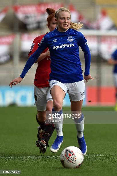 Martha Harris of Manchester United Women and Molly Pike of Everton Women in action during the Barclays FA Women's Super League match between...