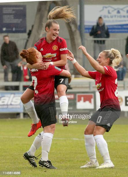 Martha Harris of Manchester United Women celebrates scoring their fourth goal during the FA Women's Championship match between Manchester United...