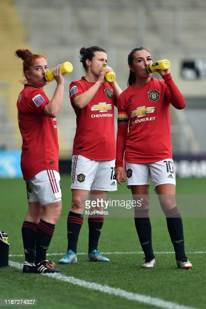 Martha Harris of Manchester United Women Hayley Ladd of Manchester United Women and Katie Zelem of Manchester United Women during the Barclays FA...