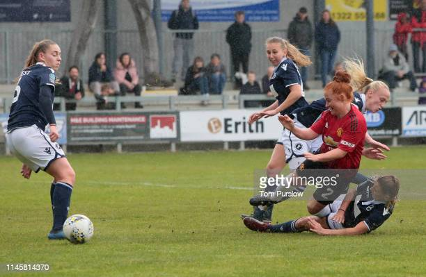Martha Harris of Manchester United Women in action during the FA Women's Championship match between Manchester United Women and Millwall Lionesses at...