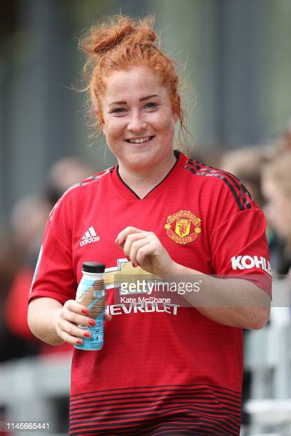 Martha Harris of Manchester United Women reacts following victory in the FA Women's Championship match between Millwall Lionesses and Manchester...