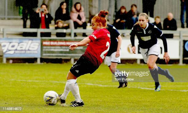 Martha Harris of Manchester United Women scores their fourth goal during the FA Women's Championship match between Manchester United Women and...