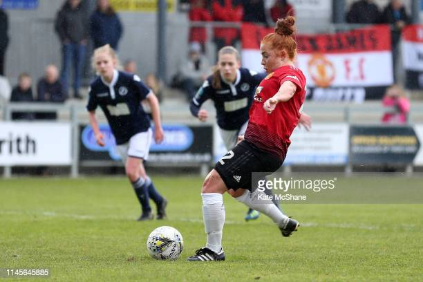 Martha Harris of Manchester United Women shoots and scores a penalty her team's fourth goal during the FA Women's Championship match between Millwall...