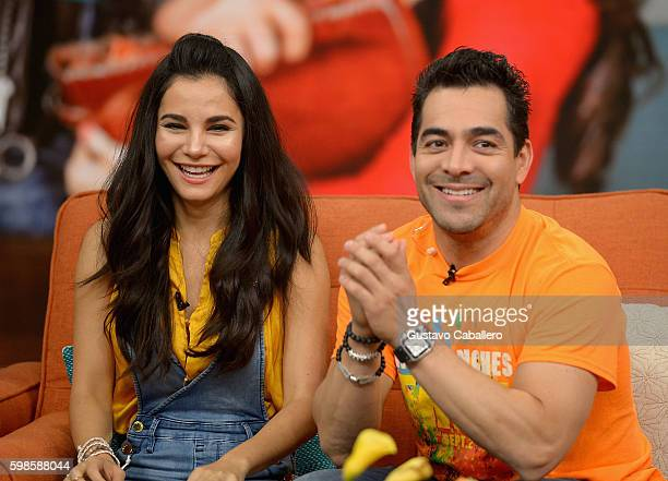 Martha Higareda and Omar Chaparro are seen on the set of 'Despierta America' to promote the film 'No Manches Frida' at Univision Studios on September...