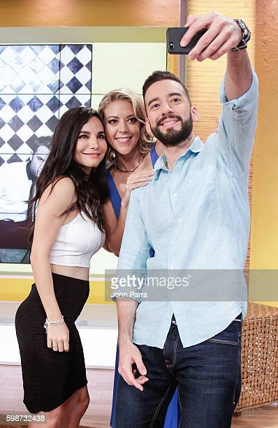 Martha Higareda Fernanda Castillo and Francisco Caceres on The Set Of Telemundo's Un Nuevo Dia to promote No Manches Frida at Telemundo Studio on...