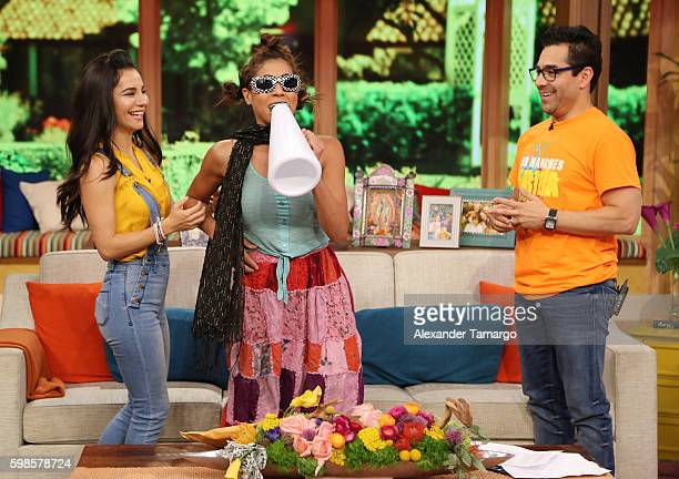 Martha Higareda Omar Chaparro and Francisca Lachapel are seen on the set of 'Despierta America' to promote the film 'No Manches Frida' at Univision...