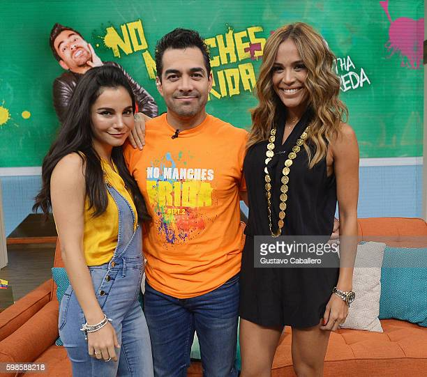 Martha Higareda Omar Chaparro and Karla Martinez are seen on the set of 'Despierta America' to promote the film 'No Manches Frida' September 1 2016...