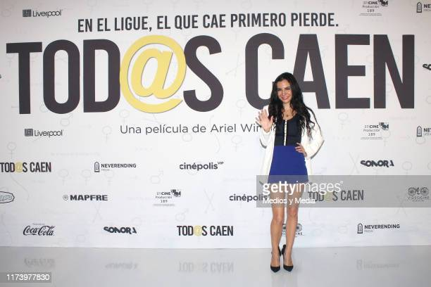 Martha Higareda poses for photos during the press conference to present the film 'Tod@s Caen' at Cinepolis Universidad on September 11 2019 in Mexico...