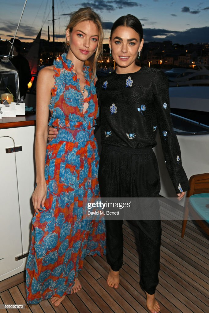 Martha Hunt (L) and Bambi Northwood-Blyth attend the Lark and Berry launch party on a private yacht during the 71st Cannes Film Festival on May 16, 2018 in Cannes, France.