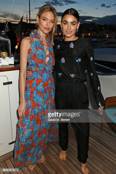 Martha Hunt and Bambi NorthwoodBlyth attend the Lark and Berry launch party on a private yacht during the 71st Cannes Film Festival on May 16 2018 in...