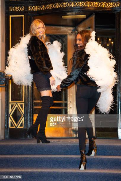 Martha Hunt and Jasmine Tookes are seen on October 30 2018 in New York City