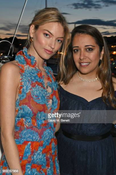 Martha Hunt and Laura Chavez attend the Lark and Berry launch party on a private yacht during the 71st Cannes Film Festival on May 16 2018 in Cannes...