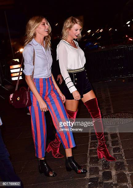 Martha Hunt and Taylor Swift arrive to the #TOMMYNOW Women's Fashion Show during New York Fashion Week at Pier 16 on September 9 2016 in New York City