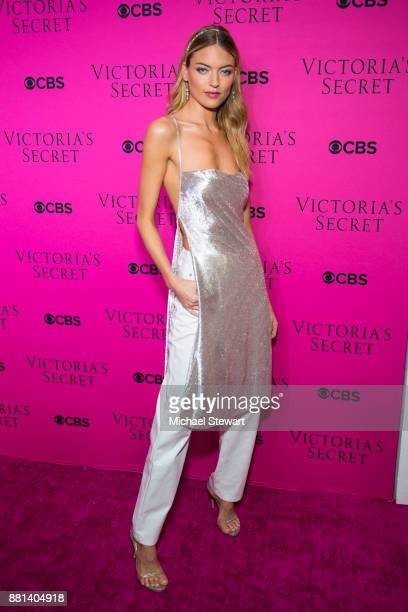 Martha Hunt attends the 2017 Victoria's Secret Fashion Show viewing party pink carpet at Spring Studios on November 28 2017 in New York City