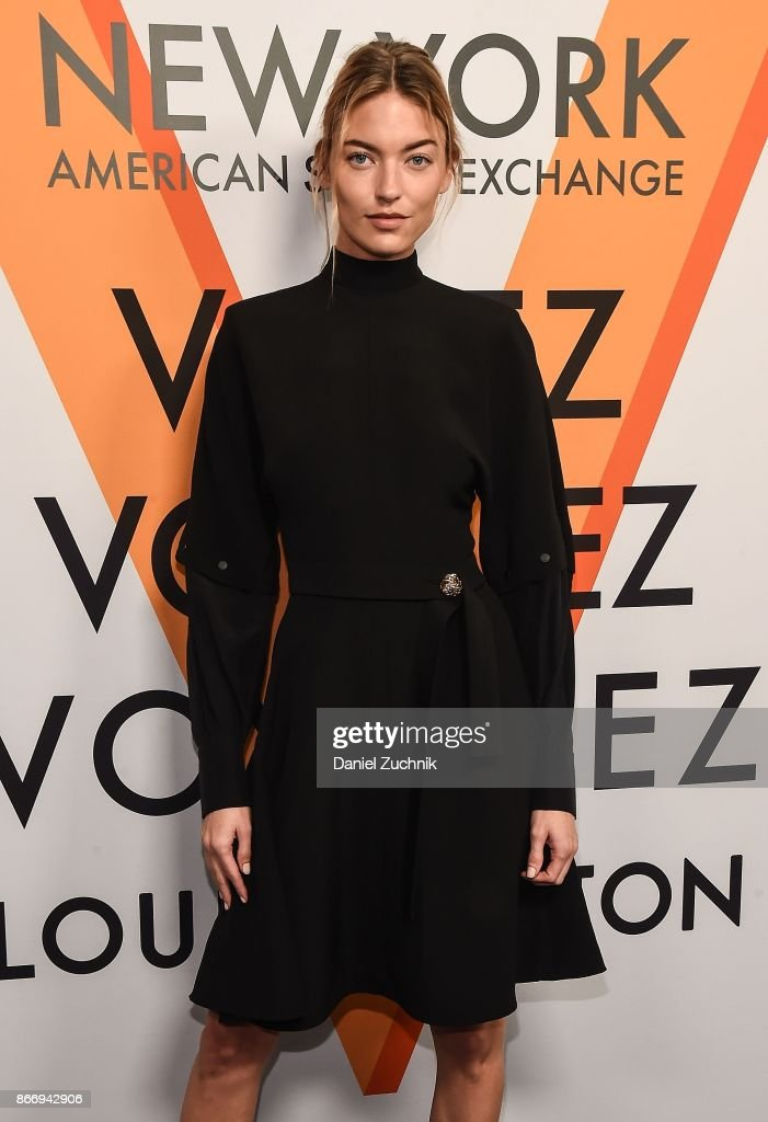 Martha Hunt attends the Volez, Voguez, Voyagez - Louis Vuitton Exhibition Opening on October 26, 2017 in New York City.