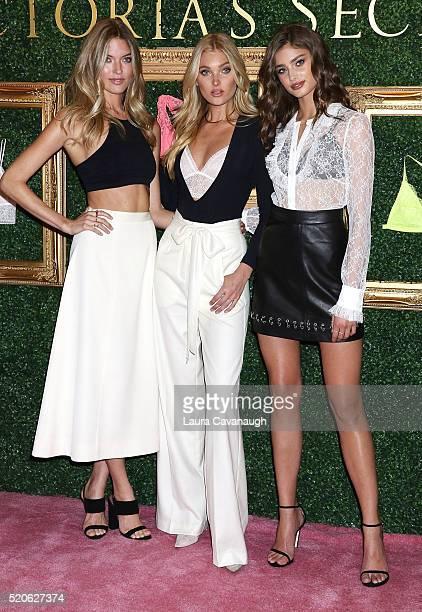 Martha Hunt, Elsa Hosk and Taylor Hill attend Victoria's Secret Bralette Collection Launch at Victoria's Secret Herald Square on April 12, 2016 in...