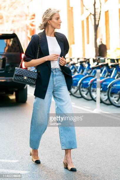 Martha Hunt is seen in Chelsea on April 03, 2019 in New York City.