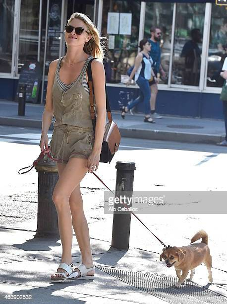 Martha Hunt is seen in the West Village on August 13, 2015 in New York City.