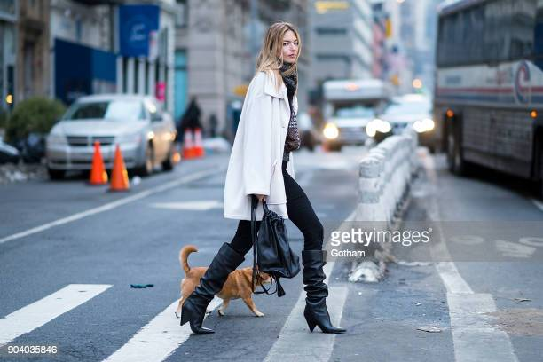 Martha Hunt is seen wearing Marc Fisher in Tribecca on January 11 2018 in New York City