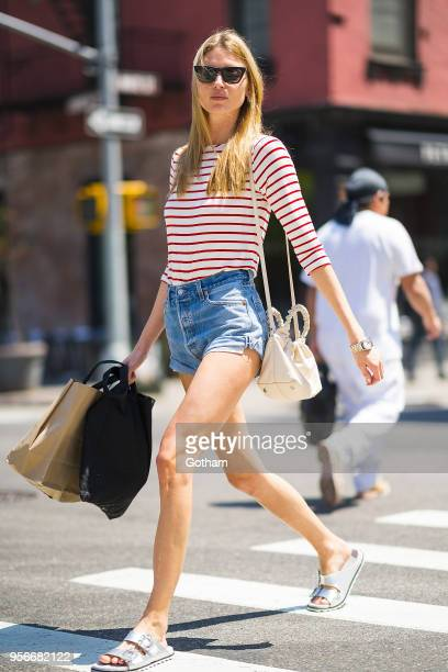 Martha Hunt is seen wearing Redun jeans Roger Vivier shoes with a Row handbag in SoHo on May 9 2018 in New York City