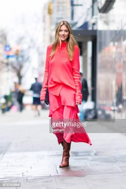 Martha Hunt is seen wearing Sies Marjan in the Upper East Side on March 8 2018 in New York City