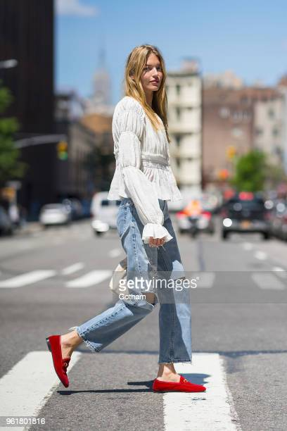 Martha Hunt is seen wearing Victoria's Secret with an Altuzarra top in Tribeca on May 23, 2018 in New York City.