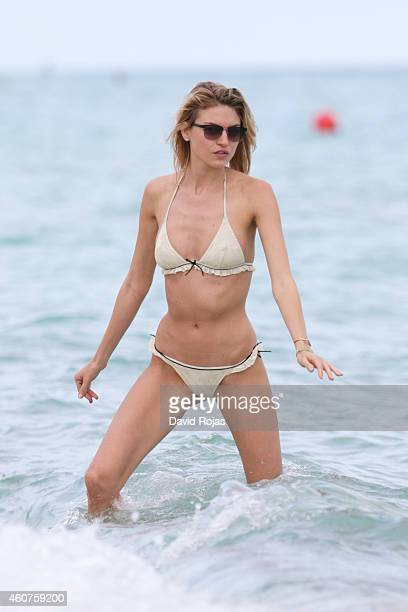 Martha Hunt is sighted at the beach on December 21 2014 in Miami Florida