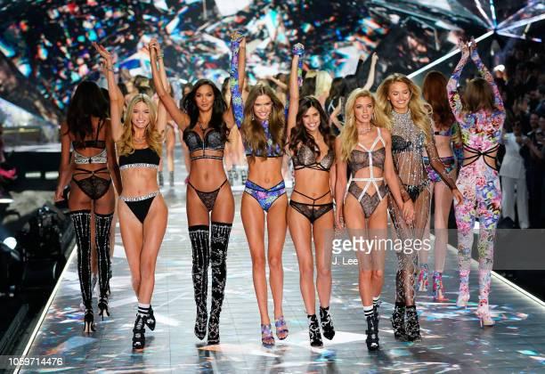 Martha Hunt, Lais Ribiero, Josephine Skriver, Sarah Sampaio, Devon Windsor, Romee Strijd at 2018 Victoria's Secret Fashion Show at Pier 94 on...