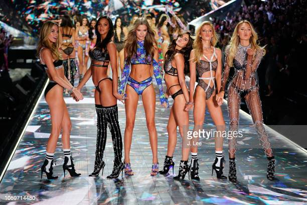 Martha Hunt, Lais Ribiero, Josephine Skriver, Sarah Sampaio, Devon Windsor, Romee Strijd at 2018 Victoria's Secret Fashion Show at Pier 94 on...