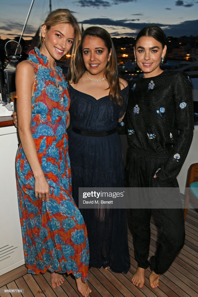 Martha Hunt, Laura Chavez and Bambi Northwood-Blyth, wearing Lark and Berry, attend the Lark and Berry launch party on a private yacht during the 71st Cannes Film Festival on May 16, 2018 in Cannes, France.