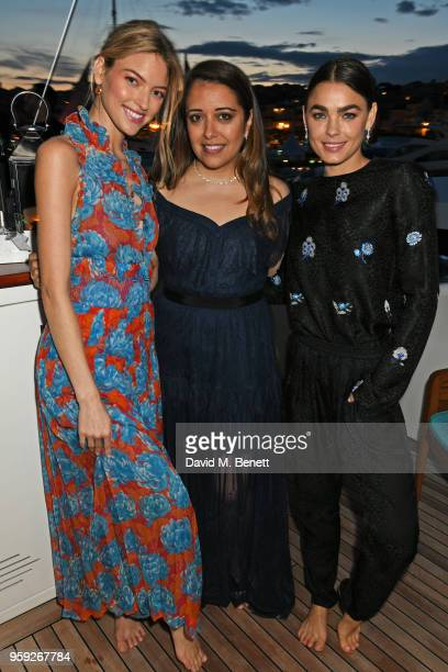 Martha Hunt Laura Chavez and Bambi NorthwoodBlyth wearing Lark and Berry attend the Lark and Berry launch party on a private yacht during the 71st...