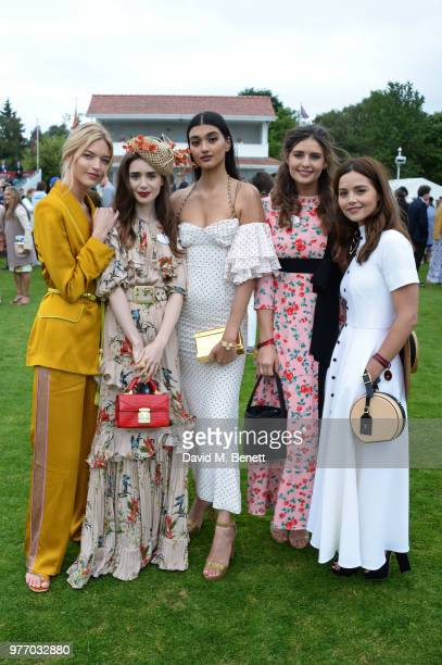 Martha Hunt Lily Collins Neelam Gill Guest and Jenna Coleman attend the Cartier Queen's Cup Polo Final at Guards Polo Club on June 17 2018 in Egham...