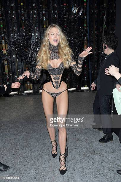 Martha Hunt poses backstage during 2016 Victoria's Secret Fashion Show on November 30 2016 in Paris France
