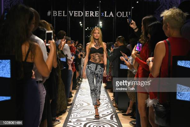 Martha Hunt walks the runway during the Belvedere Vodka's Celebration of the Launch of the 2018 Limited Edition bottle designed by Laolu Senbanjo...